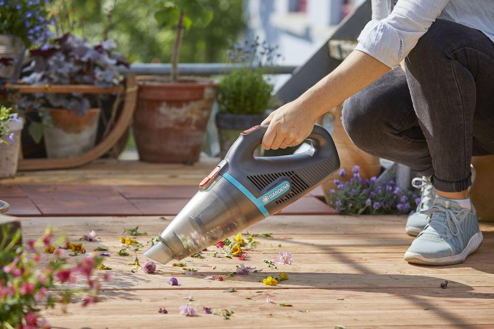 Mini tuinstofzuiger op accu
